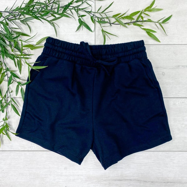 French Terry Shorts, Black