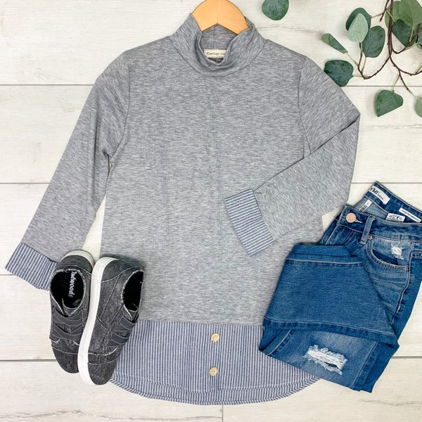 Solid Top w/Mock Under Shirt, Heather Gray