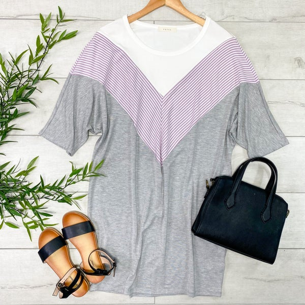 Contrast Solid and Striped Tunic Dress, Heather Gray