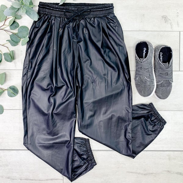 *Kendra's Collection* Faux leather Drawstring Joggers, Black *Final Sale*
