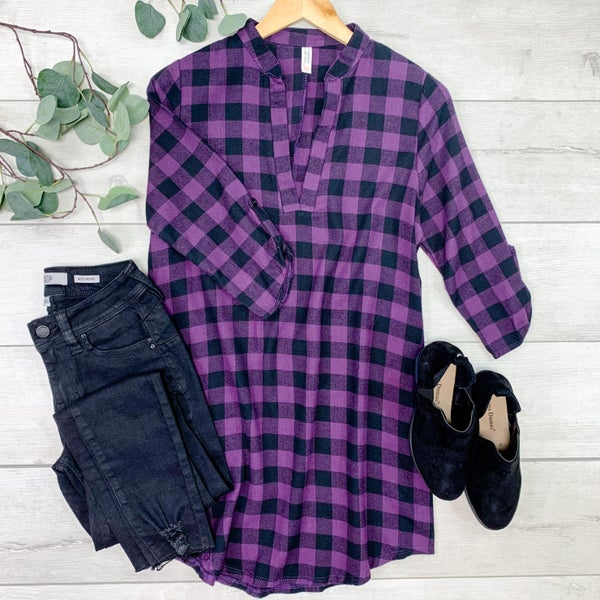 Plaid V-Neck Tunic, Purple