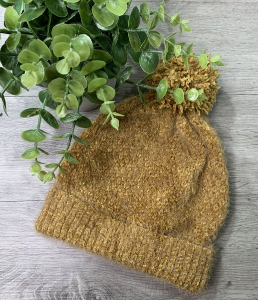 Soft Faux Fur Beanie, Mustard *$3* [FINAL SALE]