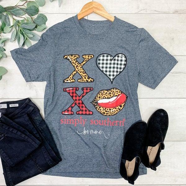 *Simply Southern* XOXO T-Shirt, Charcoal