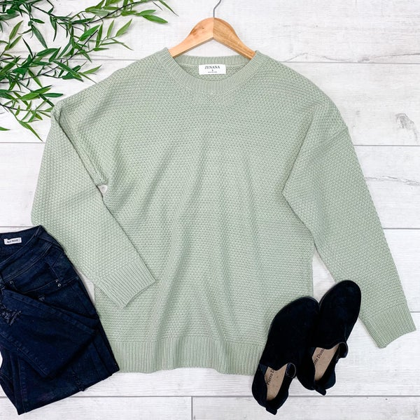 Round Neck Sweater, Light Sage
