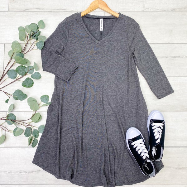 Solid V-Neck 3/4 Sleeve Swing Dress w/ Pockets, Charcoal
