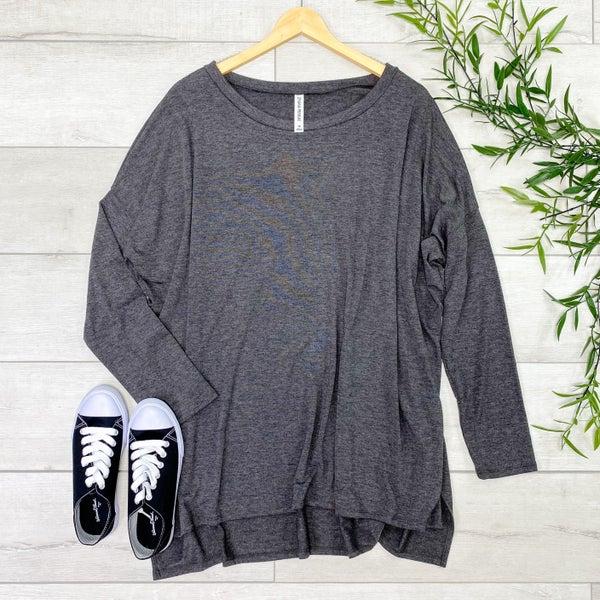 Long Sleeve Hi-Lo Tunic, Charcoal