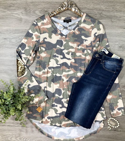 *Kendra's Collection* SS-Camo Criss Cross Top