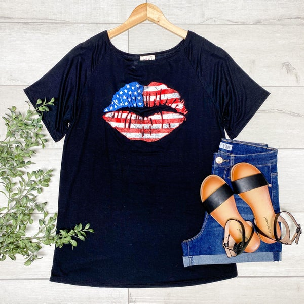 *Kendras' Collection* America Lips Raglan Tee, Black
