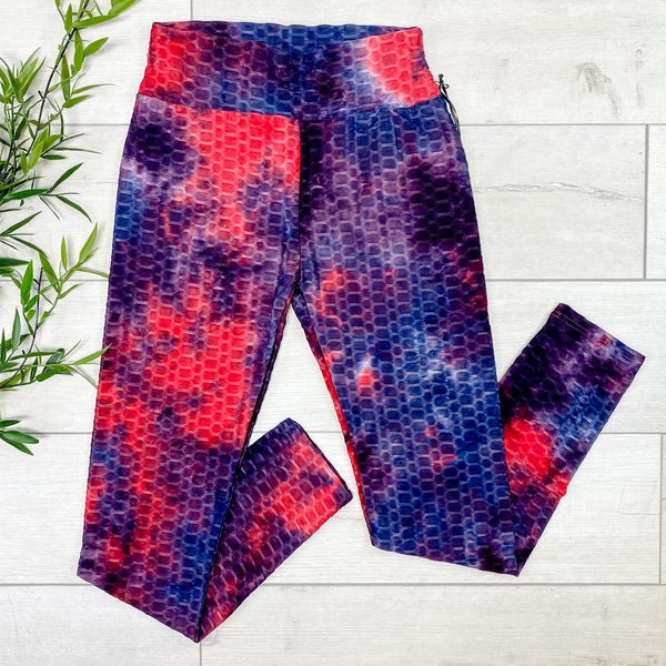 Tie Dye Honeycomb Legging, Red