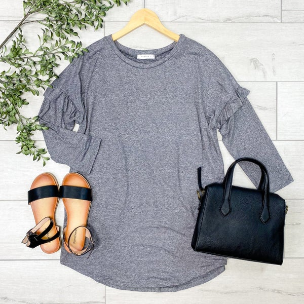 Ruffle Trimmed Heathered Top, Gray