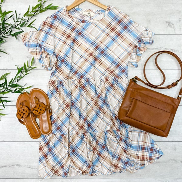 Plaid Ruffle Trimmed Babydoll Dress, Taupe