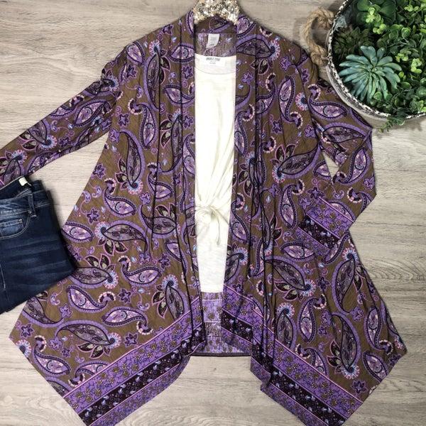 Paisley Print Cardigan, Purple