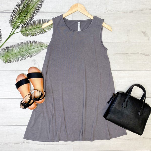 Solid Sleeveless Tunic w/Pockets, Mid Gray [[LIVE]] *Final Sale*