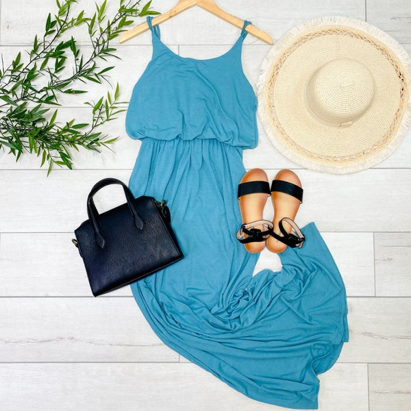 Solid Cami Gathered Waist Maxi Dress w/ Pockets, Dusty Teal [[$10--LIVE]]