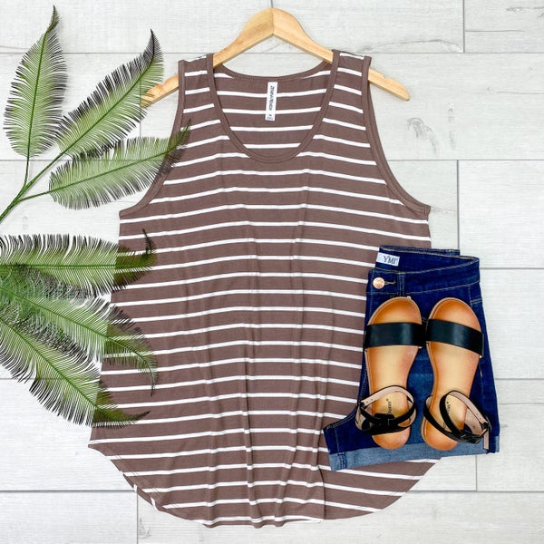 *PLUS* Striped Sleeveless Top, Mocha [[LIVE]]