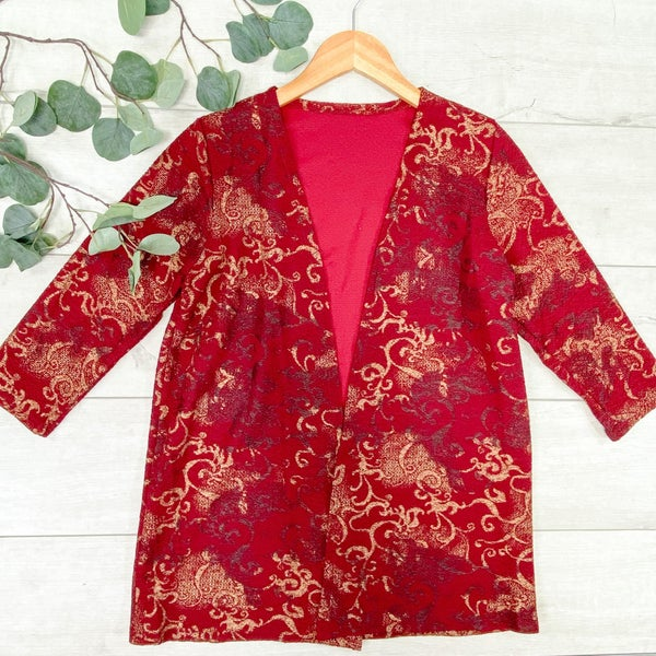 Printed Cardigan, Burgundy/Gold *Final Sale*