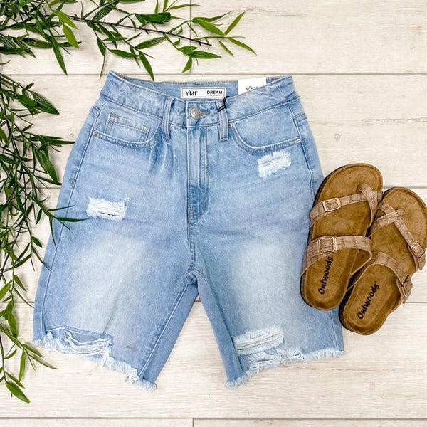 *YMI* High Rise Distressed Bermuda Shorts, Light Wash