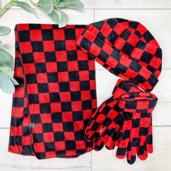 *3 Piece SET* Red Checkered *Final Sale*