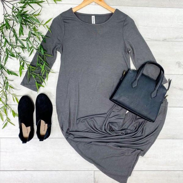 Solid 3/4 Sleeve Midi, Ash Grey