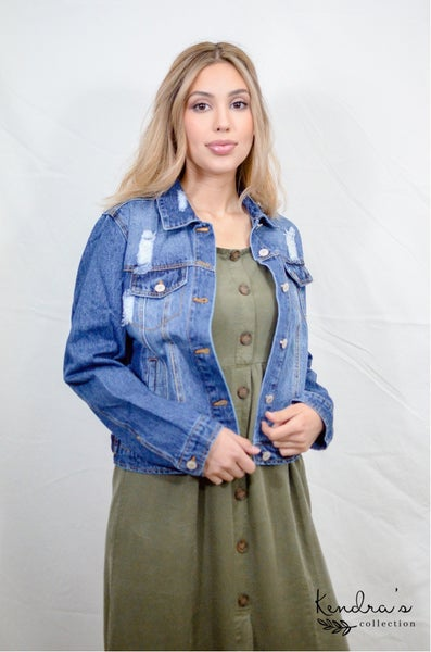 *Kendra's Collection* Distressed Denim Jacket - Medium Wash