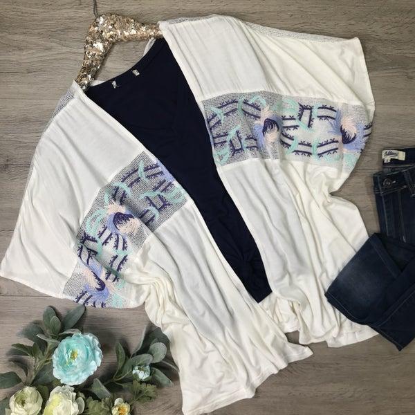Embroidered Kimono, Ivory