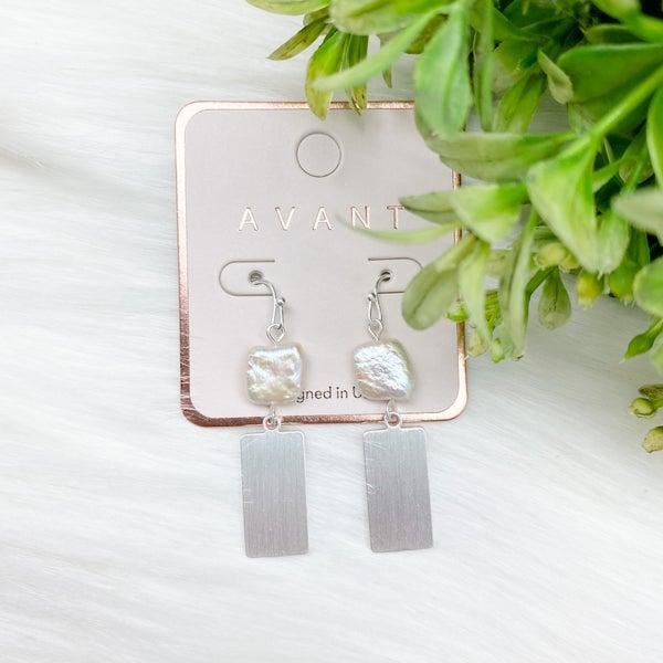 Pearl Rectangle Dangle Earrings, Silver