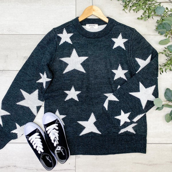 Star Pattern Round Neck Sweater, Charcoal [[$20--LIVE]]