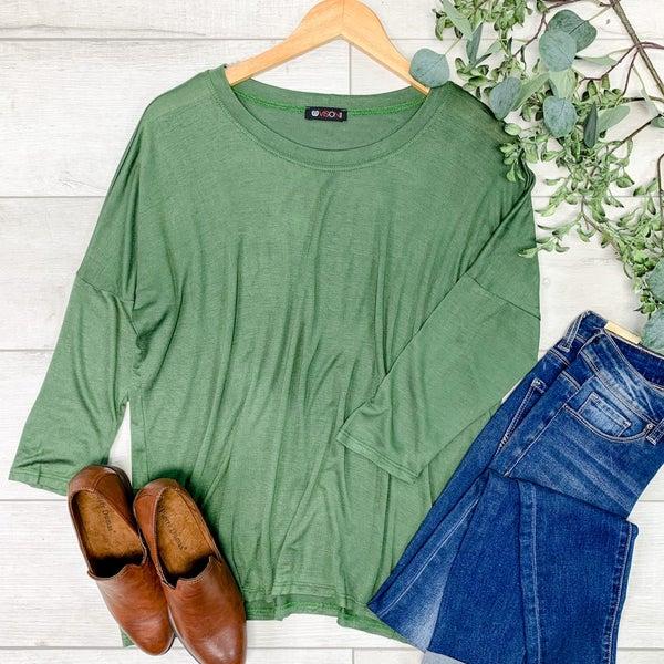 Solid Side Slit Top, Green