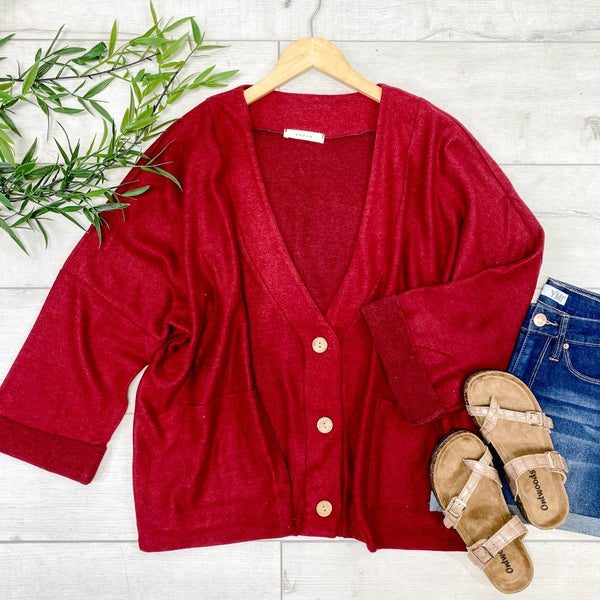 Oversized Button Down Cardigan, Burgundy
