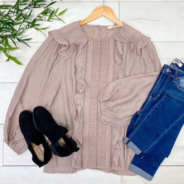 Solid Lace and Ruffle Trim Top, Latte