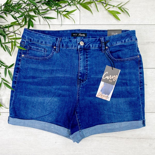 *YMI* Curvy Fit High Waist Cuffed Shorts - Medium Wash