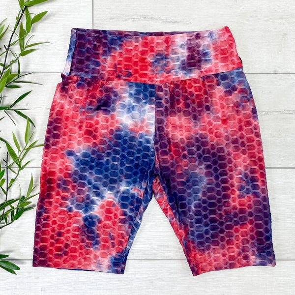 Tie Dye Honeycomb Biker Shorts, Red