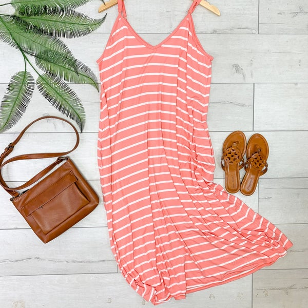 Striped Cami V-Neck Dress, Deep Coral