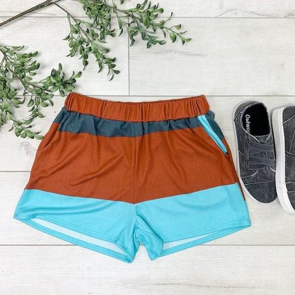 Color Block Lounge Shorts, Rust