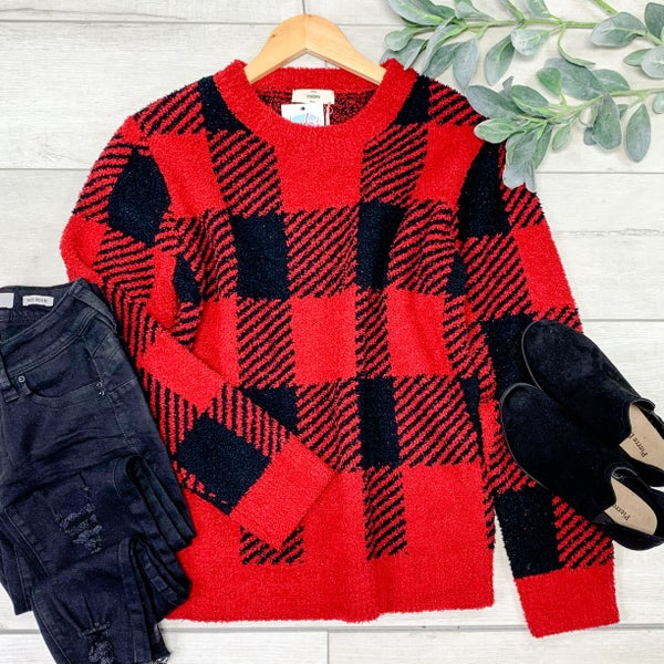 *Kendra's Collection* Buffalo Plaid Cozy Sweater, Red/Black *Final Sale*