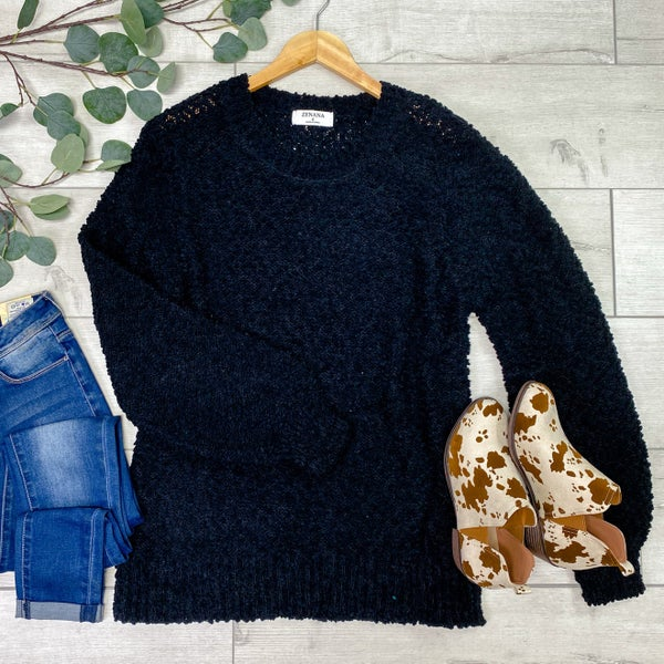 Solid Popcorn Sweater, Black