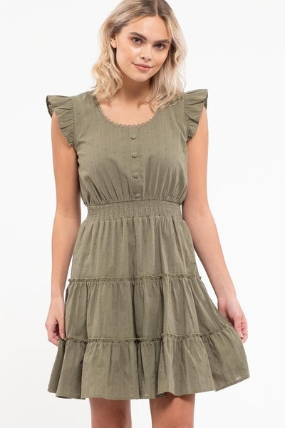 Ruffle Capped Sleeve Tiered Mini Dress, Olive