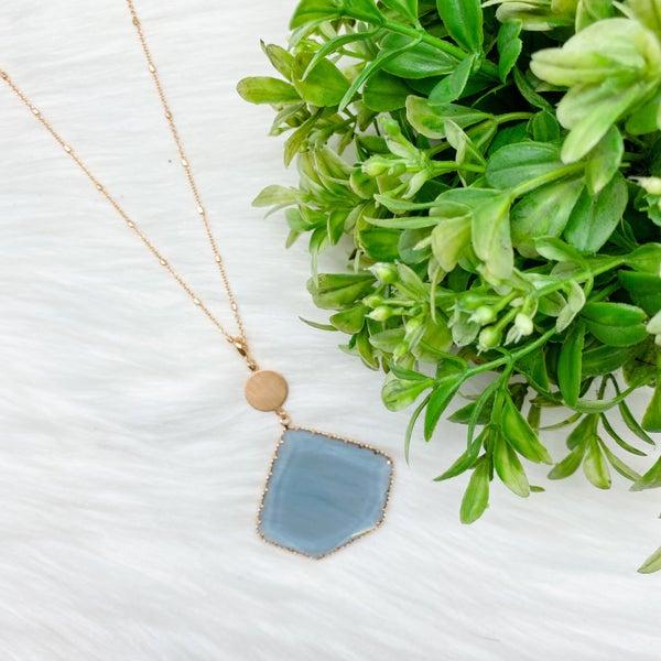 Long Glass Pendant Necklace, Grey