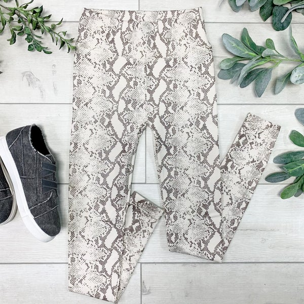 Snakeskin Print Fleece Leggings, Tan Mocha