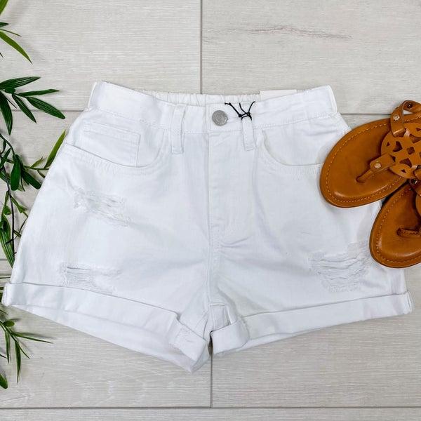 *YMI* High Rise Distressed Denim Shorts, White