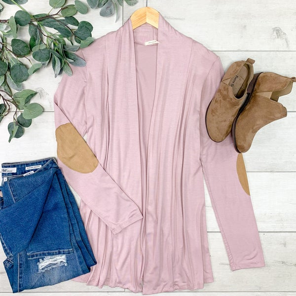 Solid Cardigan w/Elbow Patches, Blush