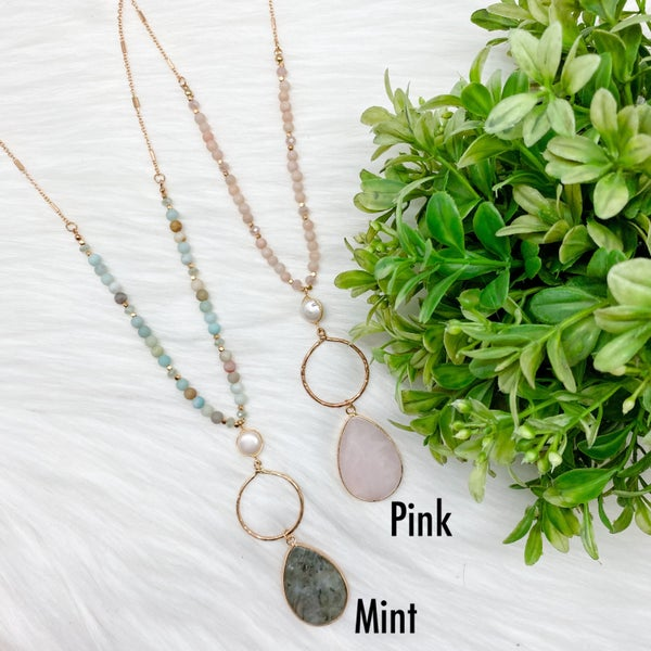 Beaded Necklace w/ Stone Pendant