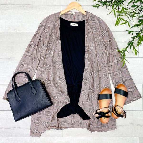 Plaid Lightweight Open Cardigan, Brown