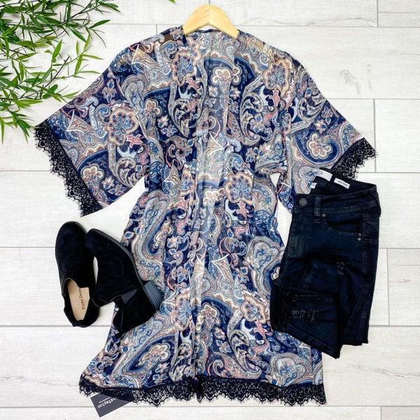 Lace Detailed Paisley print Kimono, Navy