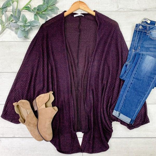 Striped Knit Cardigan, Burgundy/Black