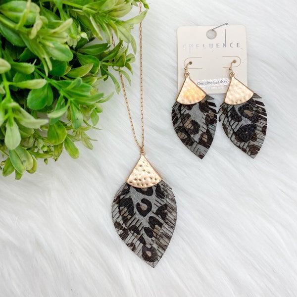 Leopard Feather Necklace + Earrings Set, Grey