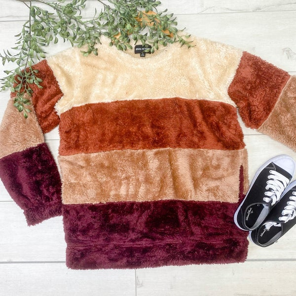 Color Block Striped Pullover w/ Pockets, Burgundy