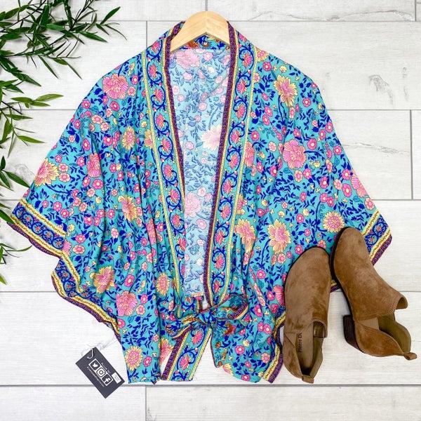 Floral Front Tie Kimono, Teal