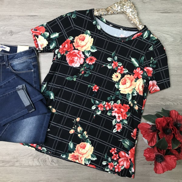Floral and Checkered Top, Black *Final Sale*
