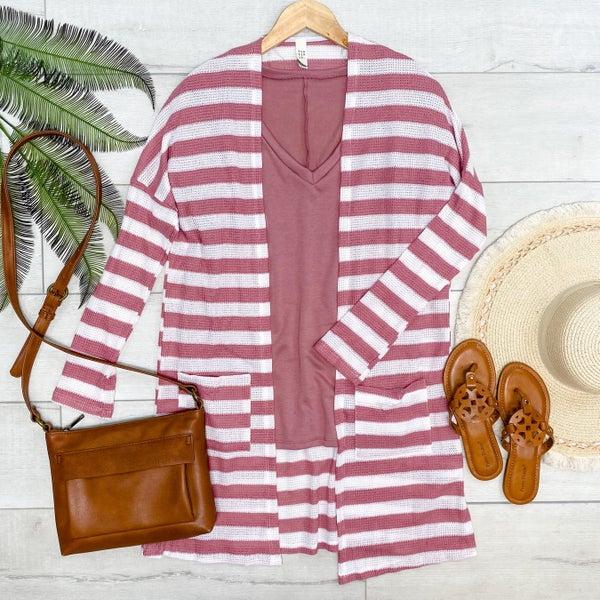 Waffle Knit Striped Cardigan, Pink
